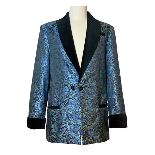 Men's Teal/Black Paisley Smoking Jacket