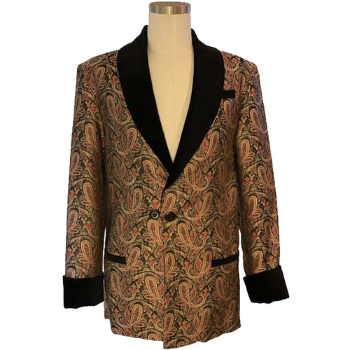 Men's Red/Gold Paisley Smoking Jacket