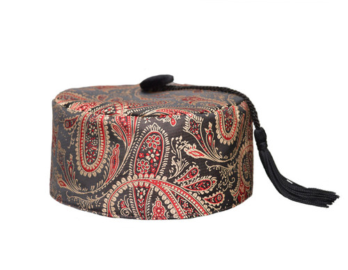 Red/Gold Paisley Smoking Cap