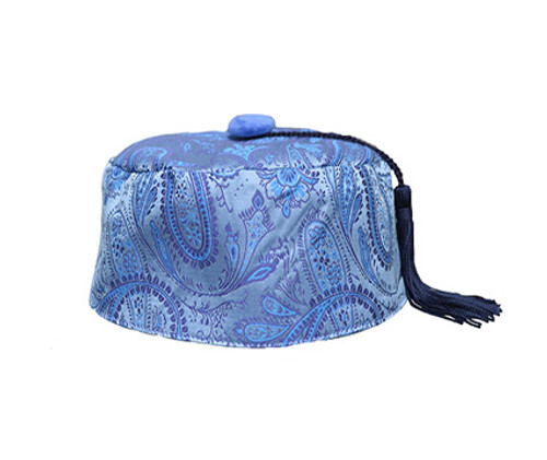 Baby Blue Paisley Smoking Cap