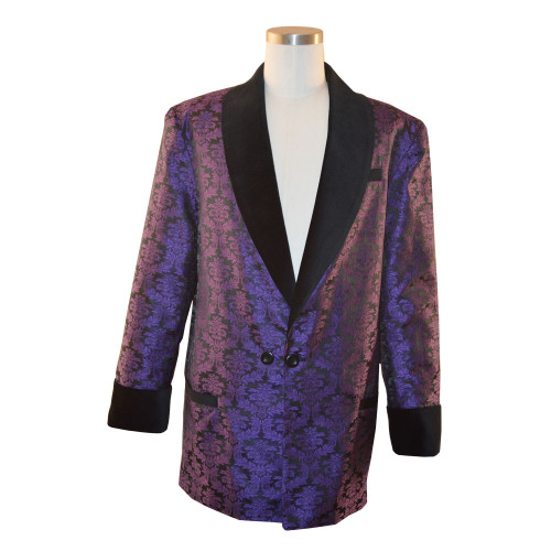 Men's purple brocade smoking jacket with black bemberg lining.  Black velvet cuff and collar