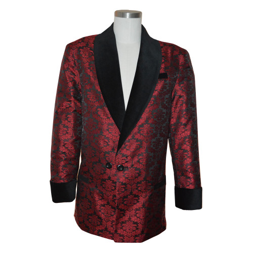 """Wine brocade smoking jacket with bemberg lining.  Black velvet cuff and collar.  Adjustable 3"""" cuff to lengthen or shorten."""