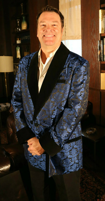 Men's Blue Brocade Smoking Jacket