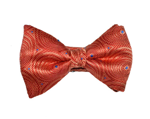Red and Blue Circular Print Bow Tie