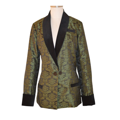Women's Olive Brocade Jacket with Black Lining