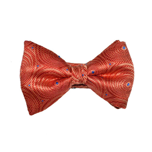 Circular Print Bow Tie - Orange