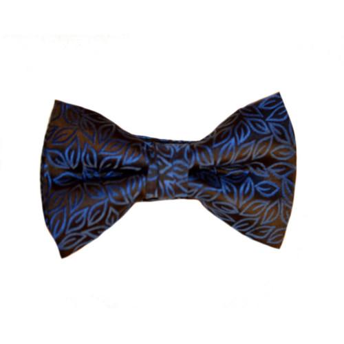 Brocade Vine Print Bow Tie - Blue