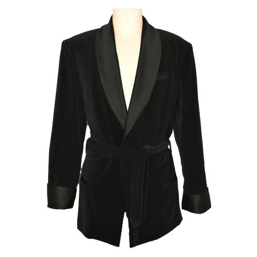 Women's Black Velvet Smoking Jacket with Paisley Lining