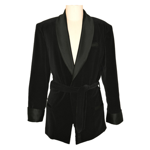 Women's Black Velvet Smoking Jacket with Paisley Lining