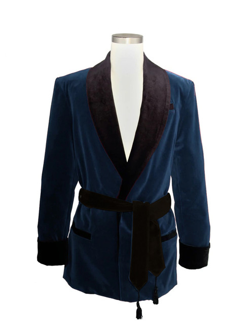 Men's Navy Velvet Jacket with Black Lining