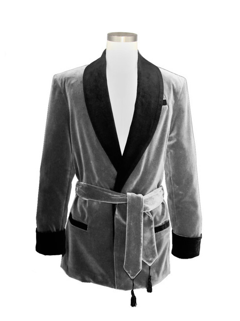 Men's Grey Velvet Smoking Jacket with Grey Paisley Lining