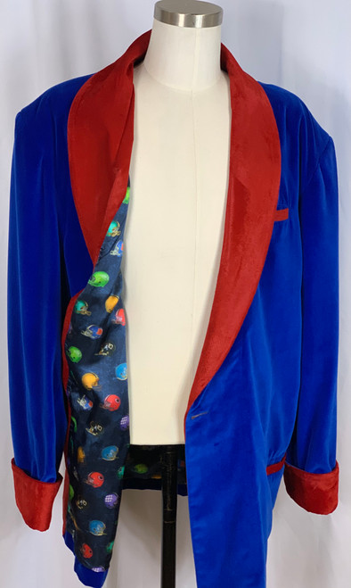 Men's Blue Velvet with Red Velvet Contrasting Cuff and Collar SZ XL- Football Lining