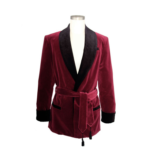 Women's Wine Velvet Smoking Jacket with Black Lining