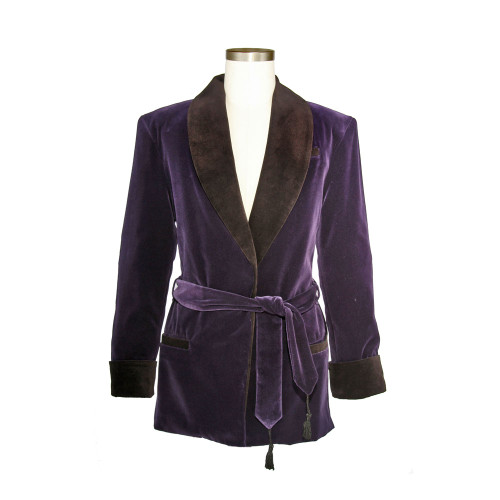 Women's Bilberry Purple Velvet Smoking Jacket with Black Lining