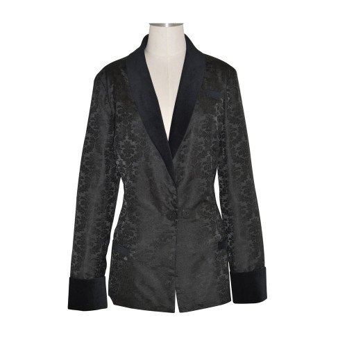 Women's Black Brocade Smoking Jacket with Black Lining