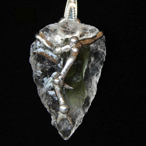 (SOLMM2) Moldavite with Clear Quartz Arrowhead Necklace