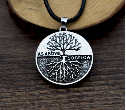 As Above So Below Wicca Tree of Life Pendant with cord