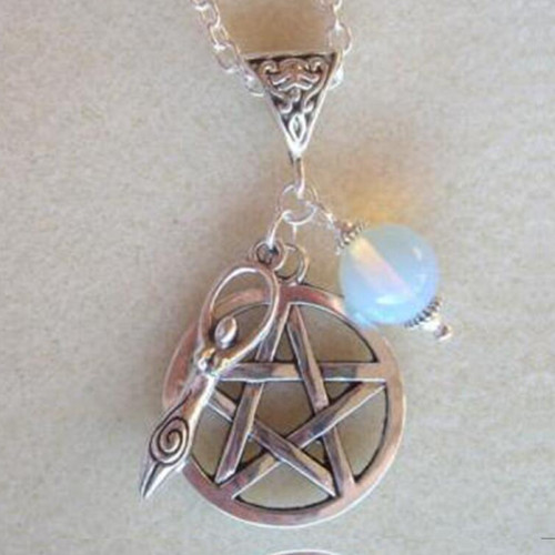 """Vintage Pentacle Earth Goddess Pendant with 23.5"""" chain"""