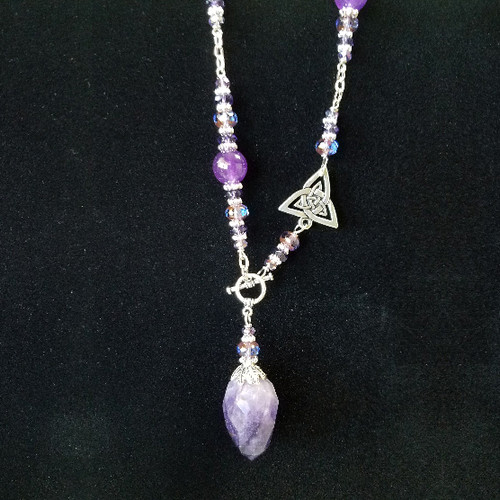 Amethyst with Triquettra Pendulum Necklace (AN06