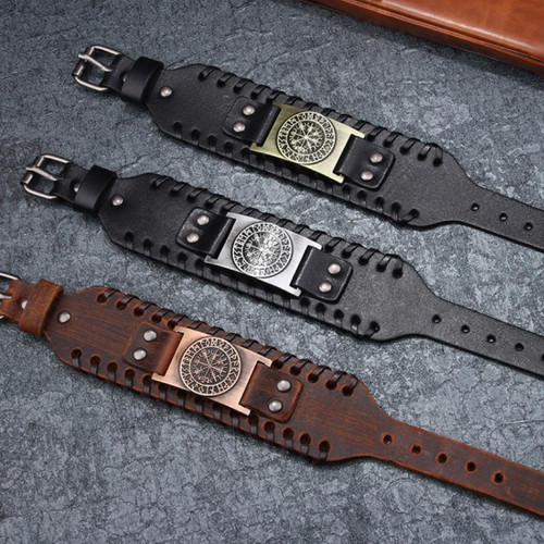 Compass, Leather Braided Rope Viking Wristband