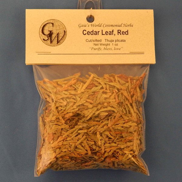 (HC02310) Cedar Leaf, Red, cut and sifted, 1.0 oz.