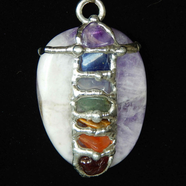 (SOLCHWA) Chakra Worry Stone Necklace with Amethyst