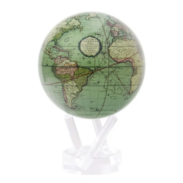 "Antique Terrestrial Green Mova Globe, 6"" with acrylic base"