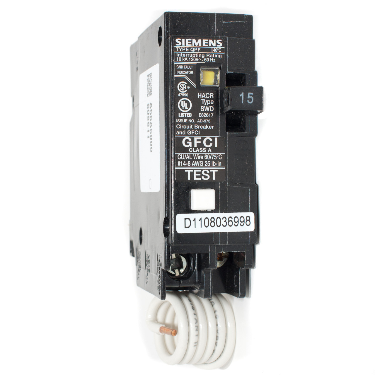 Siemens Ground Fault Circuit Interrupter Not Lossing Wiring Diagram Qf115 15a Single Pole Gfci Push On Breaker Tremtech Rh Store Com Arc