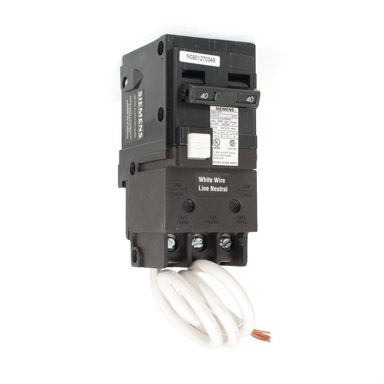 Siemens QF240 40A Two Pole GFCI Push-On Breaker