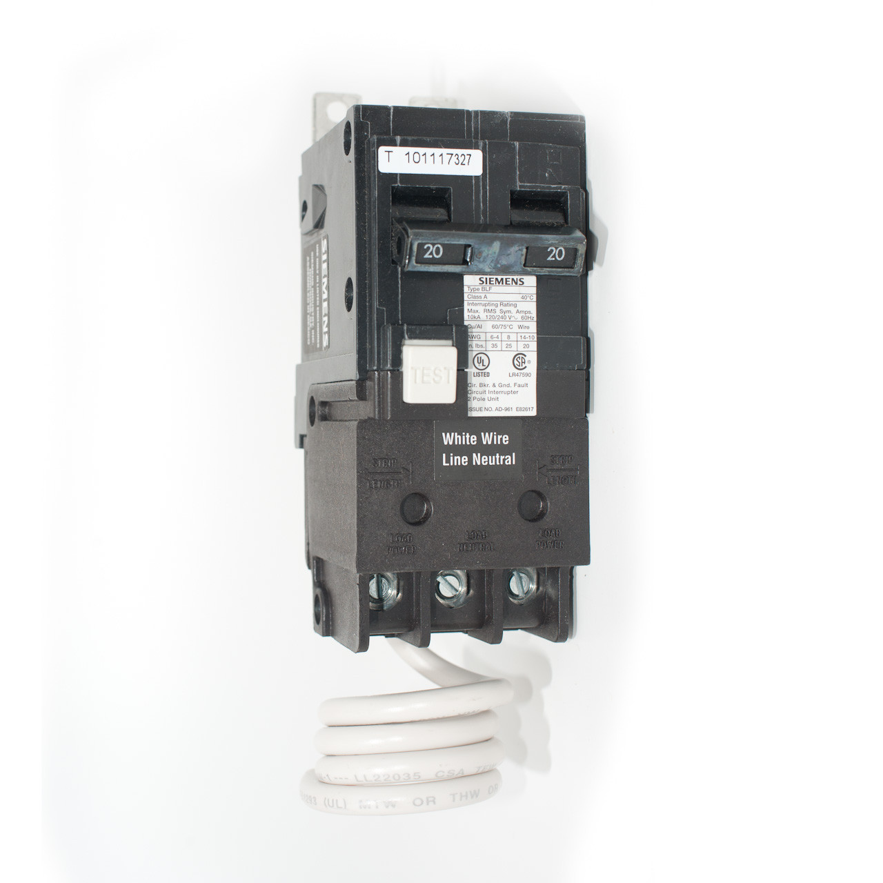 Siemens BF220 20A Two Pole GFCI Bolt-On Breaker