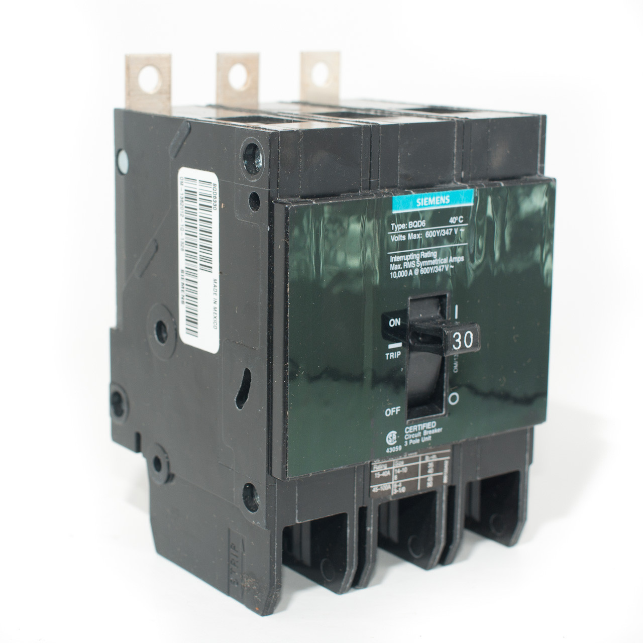 Siemens BQD6330 Three Pole 30A Bolt-On Breaker