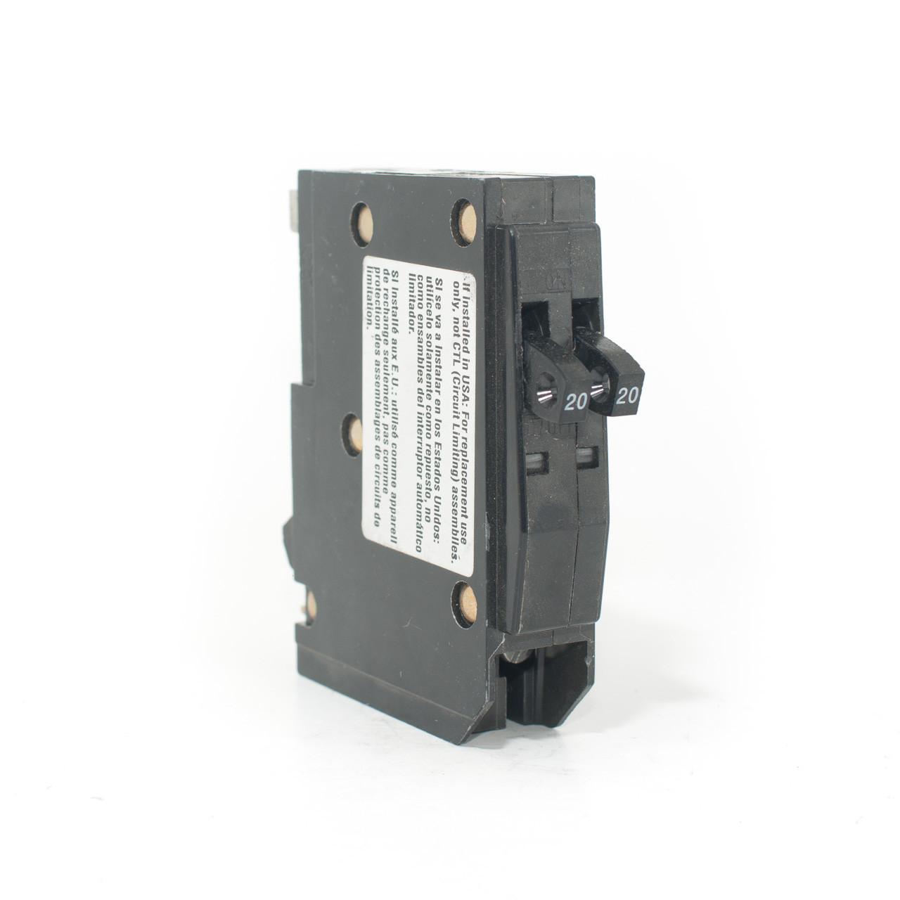 Square D QO2020 Tandem 20/20A Single Pole Push-On Breaker