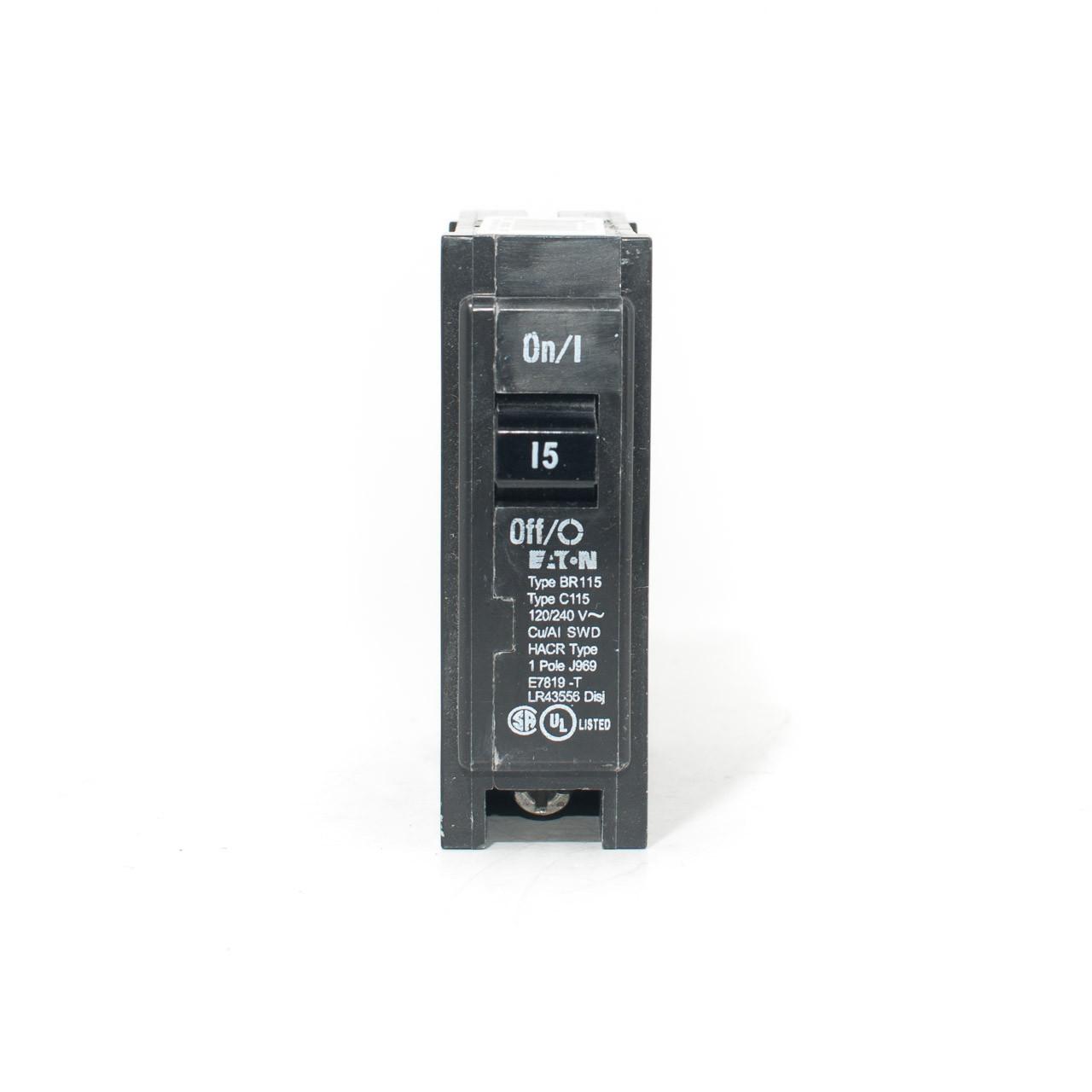 1 Cutler-Hammer BR115 Circuit Breaker 1 Pole 15 Amp 120//240 V Type C115