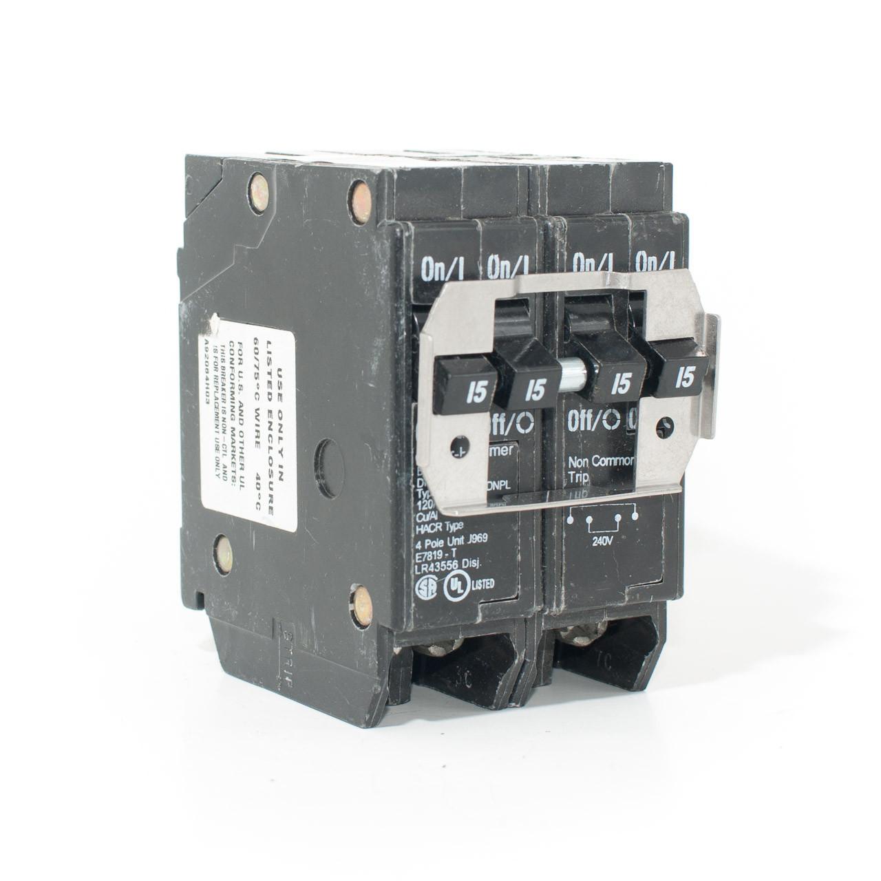 Eaton Cutler-Hammer DNPL215215 Quad 2P15/2P15 Push-On Breaker on