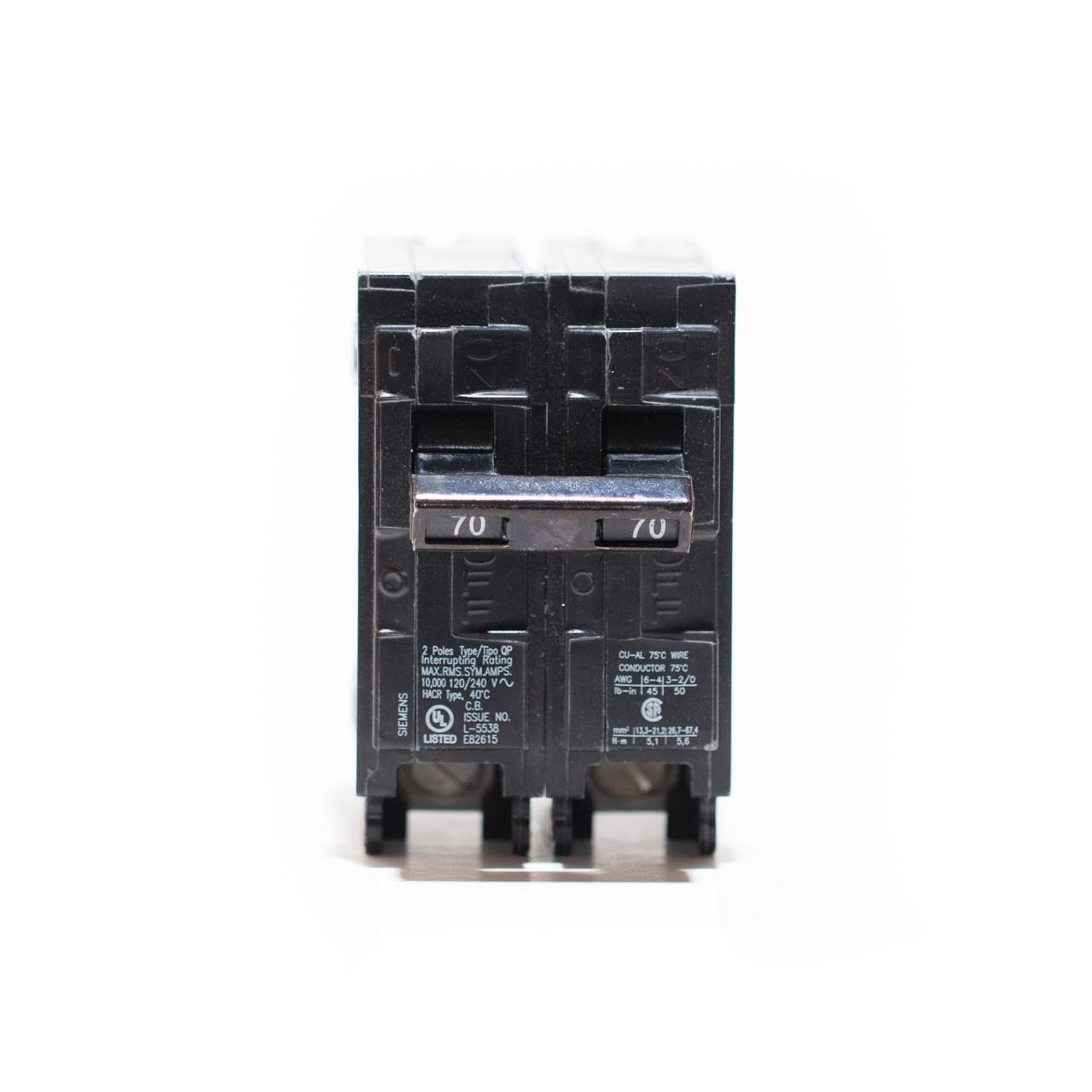 Siemens Q270 70A Two Pole Push-On Breaker