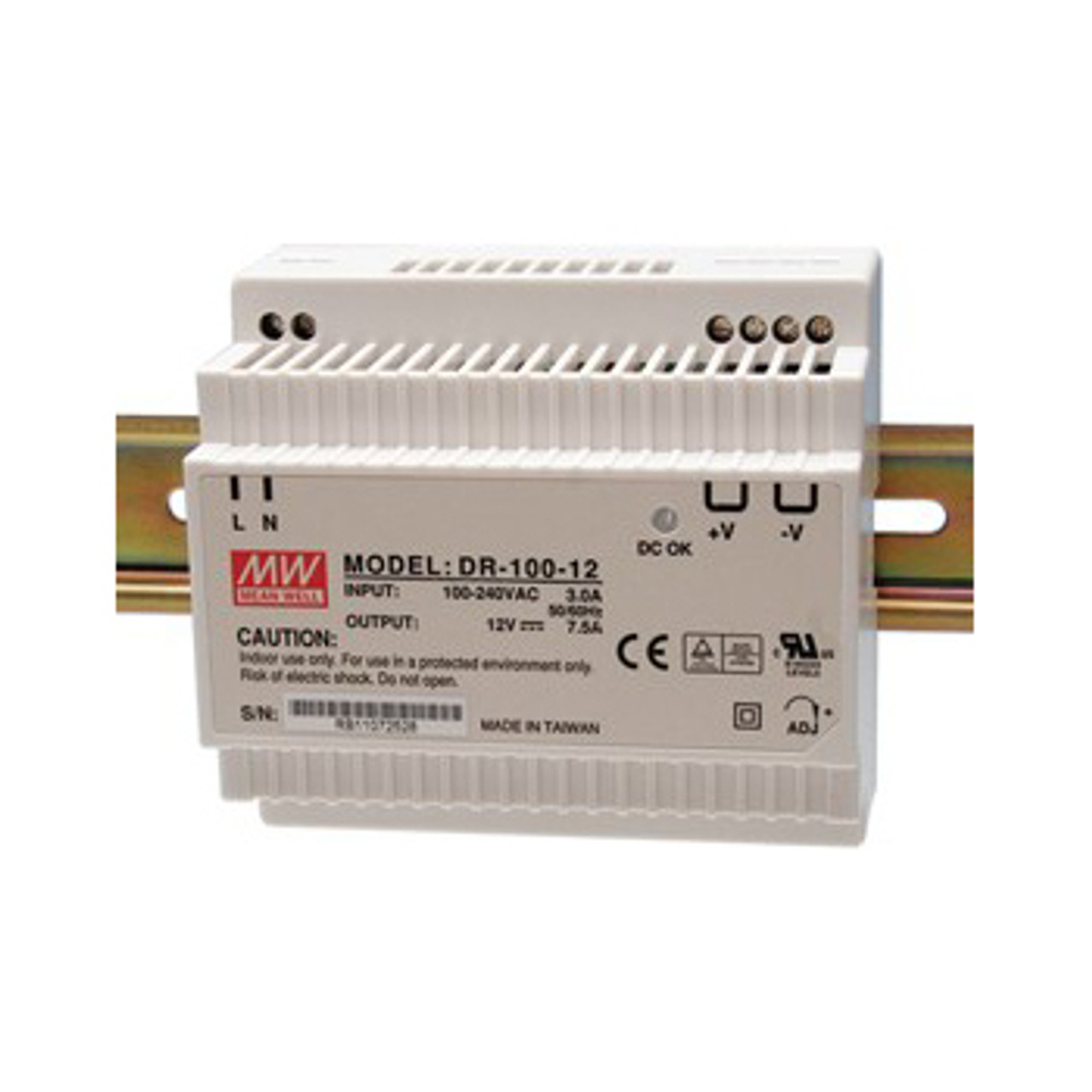 Mean Well Power Supply 120/240Vac-12Vdc 90W DIN Mount