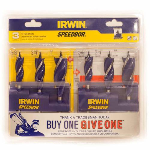 IRWIN SPEEDBOR Tri-Flute Bit Set 3pc Buy One Give One