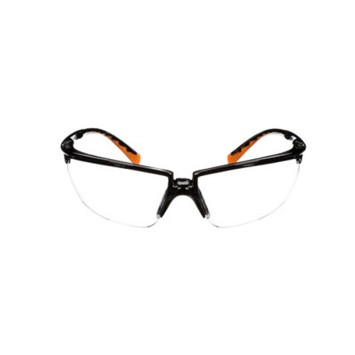 3M Clear Anti-Fog Safety Glasses Black Frame W/ Orange Accents