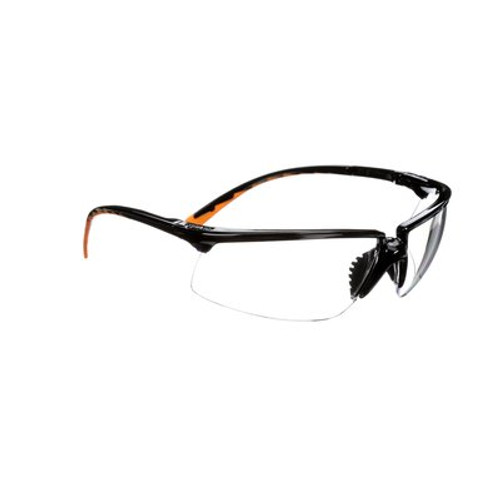 2ccf1c66a9 3M Clear Anti-Fog Safety Glasses Black Frame W  Orange Accents ...