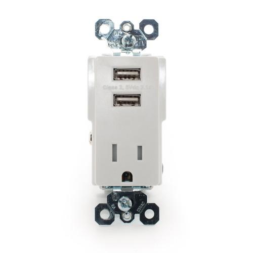 Decorator USB/Receptacle 15A 125V, Tamper Resistant, White