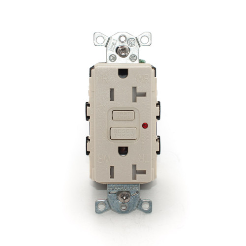 20A Tamper & Weather Resistant GFCI Receptacle, Light Almond