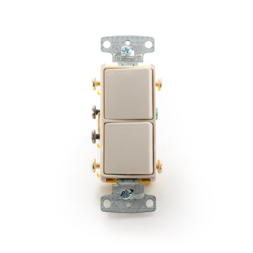 Decorator Combination Rocker Switch, Two 3-Way 15A 120/277V, Light Almond