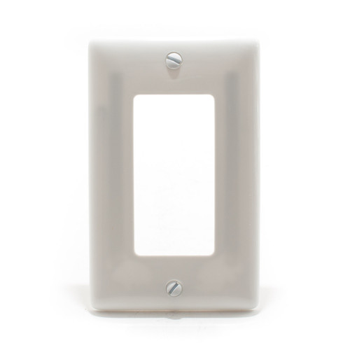 Decorator Wall Plate, 1 Gang, White, Nylon