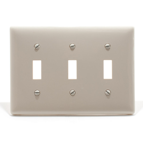 Switch Plate, 3 Gang, Light Almond, Nylon