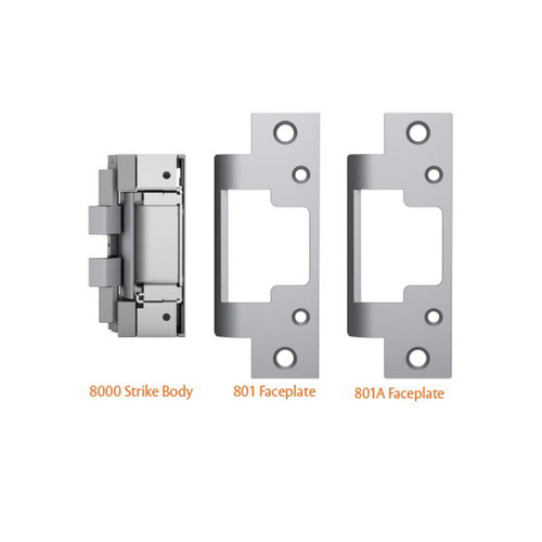 8000 Door Strike 801 faceplate for use with cylindrical locksets in metal jams 801A faceplate for use with cylindrical locksets or spring latches in aluminium frames.