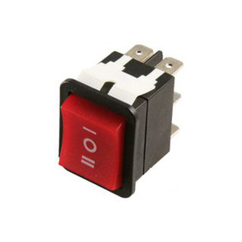 E-Switch Rocker Switch DPDT 20A 125V Red On-Off-On