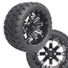 """14"""" RECLUSE FX Machined/Black Wheels on 22x10x14 Overkill A/T Tires"""