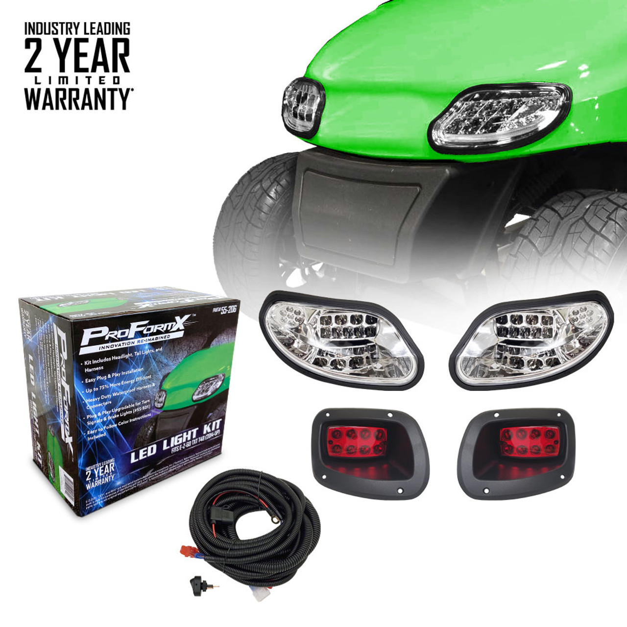 ProFormX Upgradable LED Light Kit for E-Z-Go TXT-Freedom-T48 (2014 and up) - Plug & Play Installation with Warranty Information
