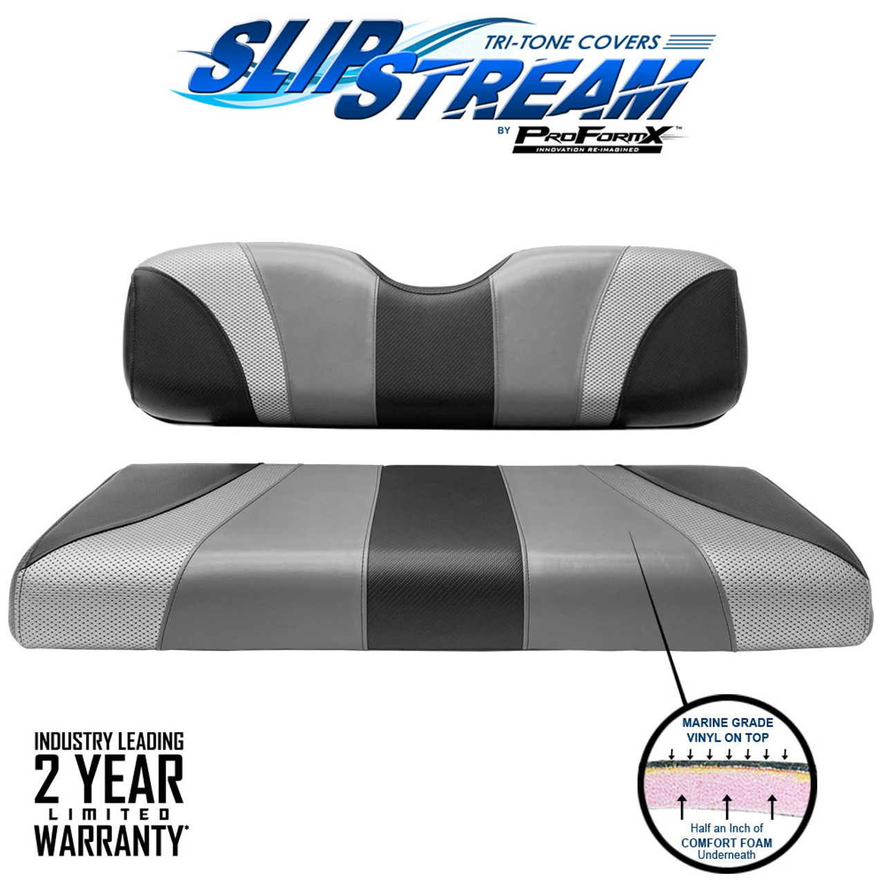 SlipStream Club Car Precedent and DS Rear Seat Back and Bottom Tri-tone Seat Cover Jet-Gray-Liquid Silver