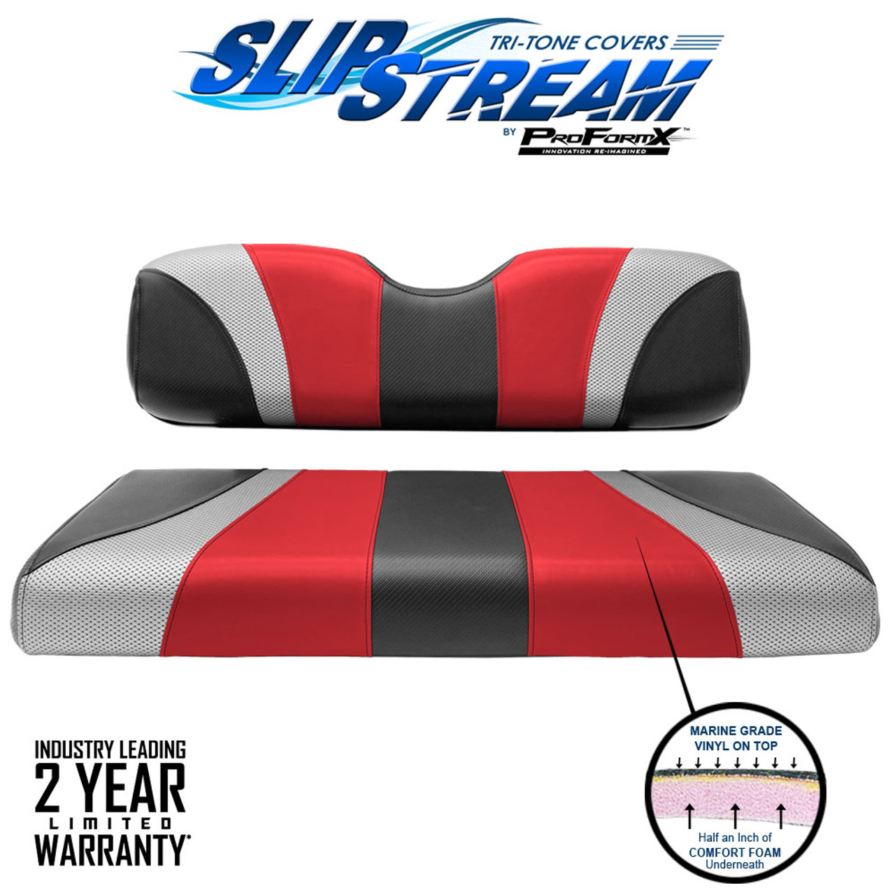 SlipStream Club Car Precedent and DS Rear Seat Back and Bottom Tri-tone Seat Cover Jet-Red-Liquid Silver